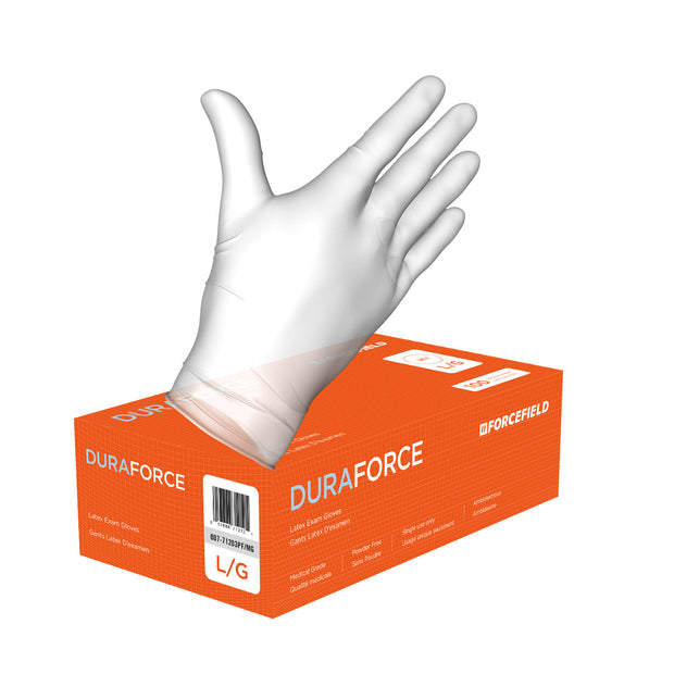 Duraforce Latex Disposable Examination Gloves (Case of 1000 Gloves)