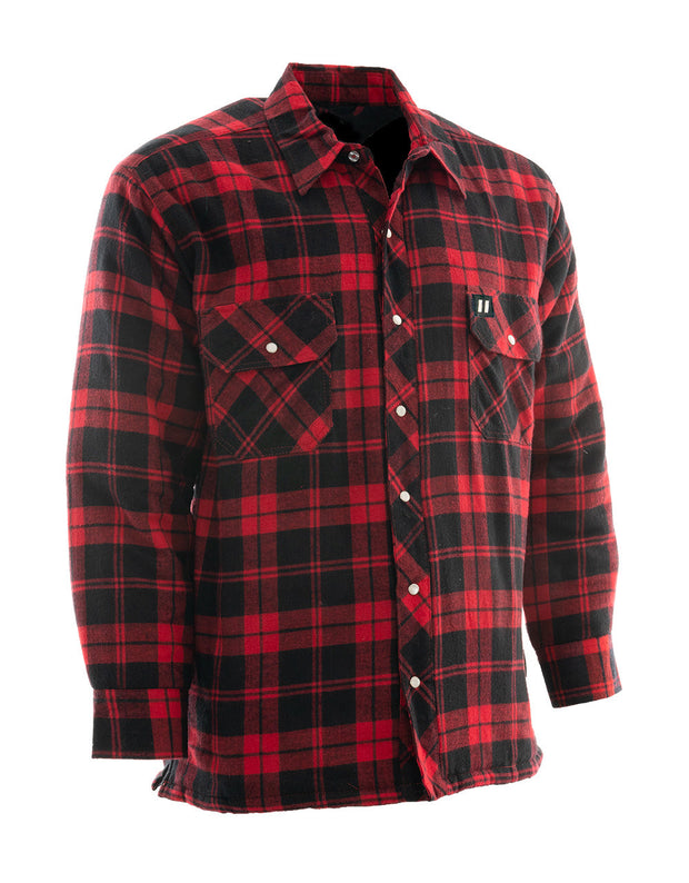 Red Plaid Quilted Flannel Shirt