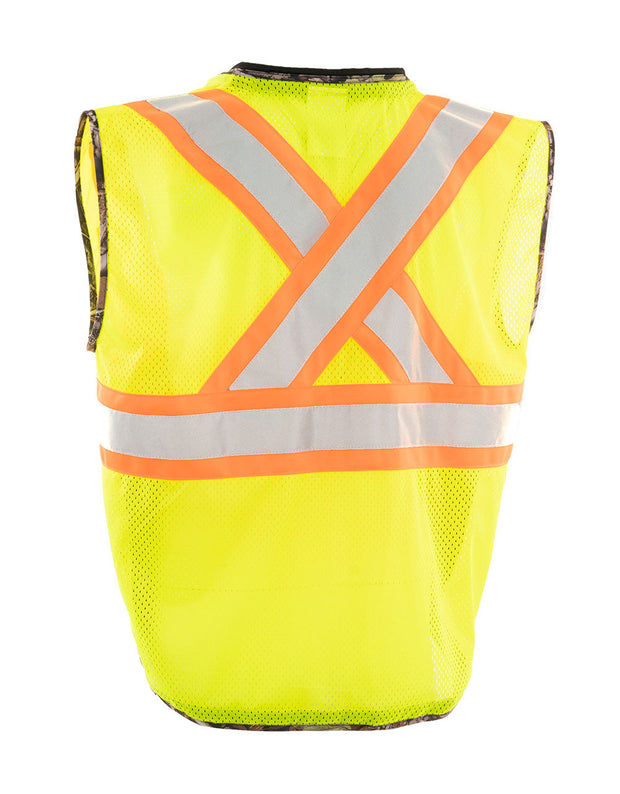 Hi Vis Camo Traffic Safety Vest with Zipper Front, Tricot Polyester, 3 Sizes