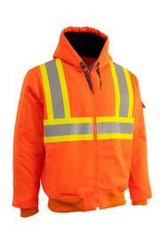 Hi Vis Canvas Safety Work Jacket with Sherpa Liner
