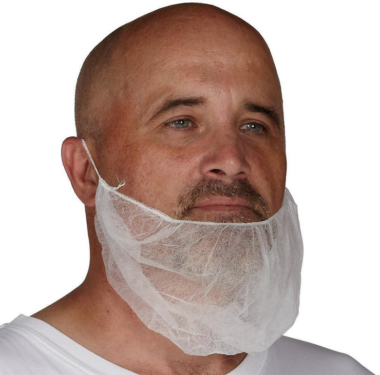 Beard Guard, White Polypropylene, 100 per bag - Hi Vis Safety