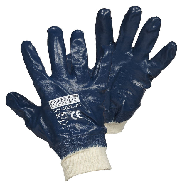 Blue Nitrile Fully Coated Work Gloves with Knitwrist - Hi Vis Safety
