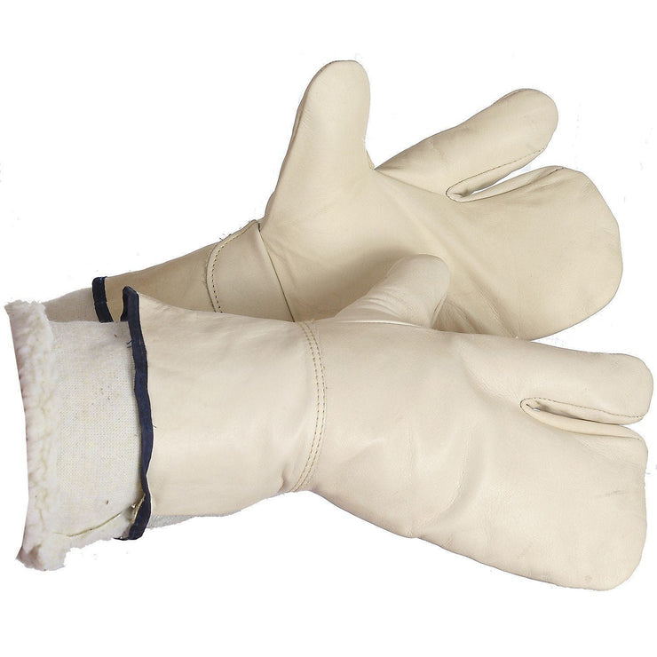 """Bonfire"" 1-Finger Leather Mitt, Pile-Lined - Hi Vis Safety"