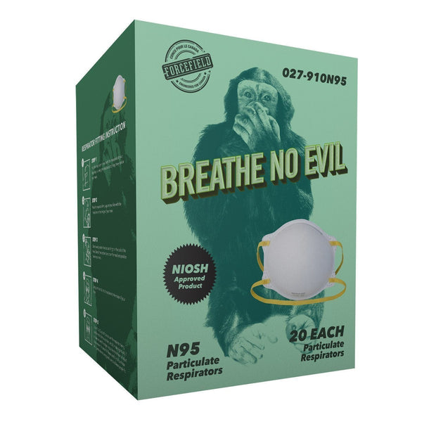 """Breathe No Evil"" N95 Disposable Respirator, 20 per box - Hi Vis Safety"