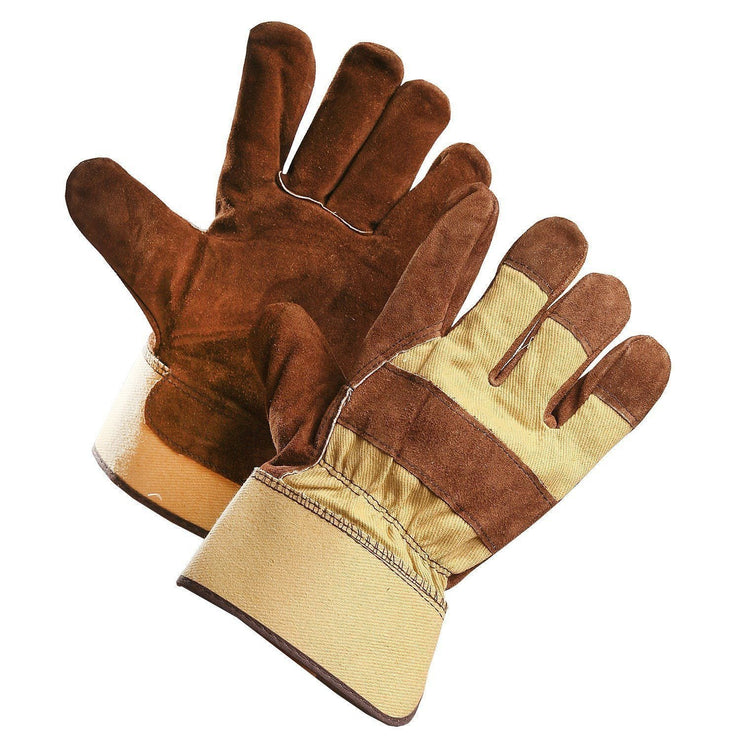 Brown Split Leather Work Glove with Removable Fleece Liner - Hi Vis Safety