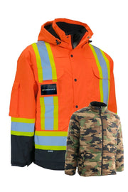 Hi Vis Winter Safety Parka with Removable Down Camoflauge Insulated Nylon Puffer Jacket
