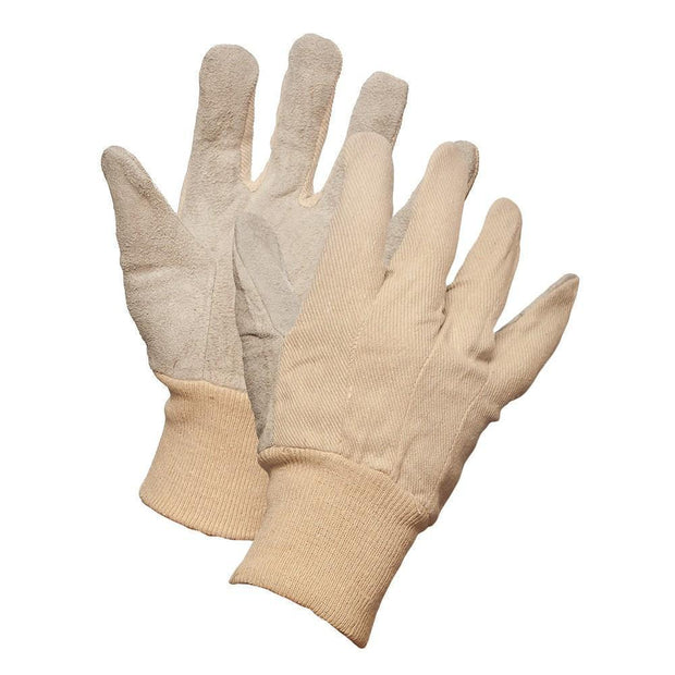 Canadian Quality Leather Palm Work Gloves with Knit Wrist - Hi Vis Safety