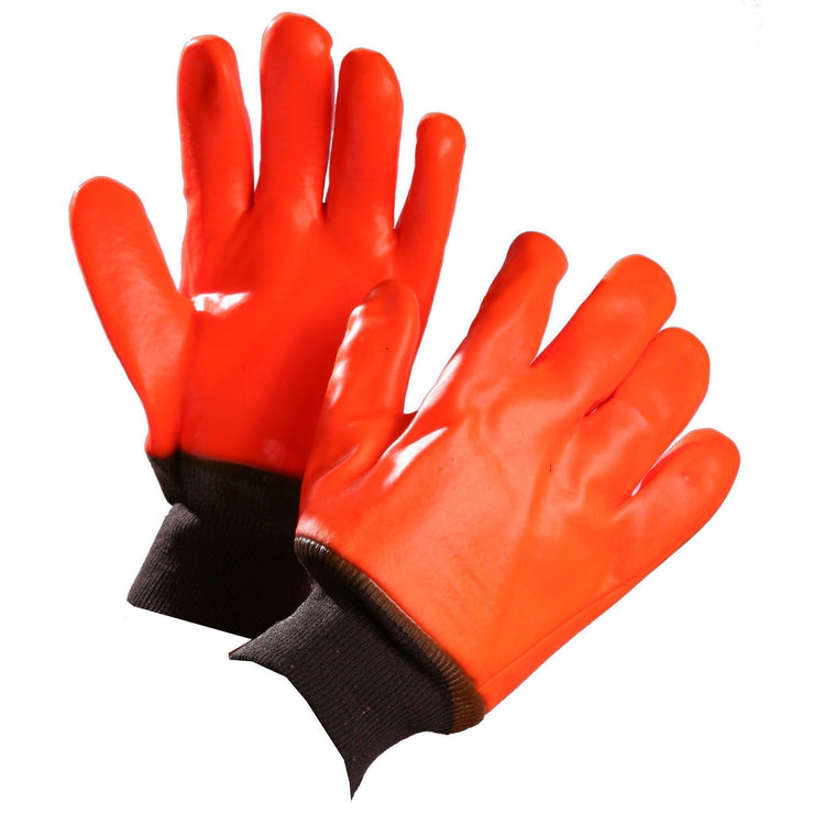 Chemical Resistant Gloves, Orange PVC Coated, Knit Wrist - Hi Vis Safety