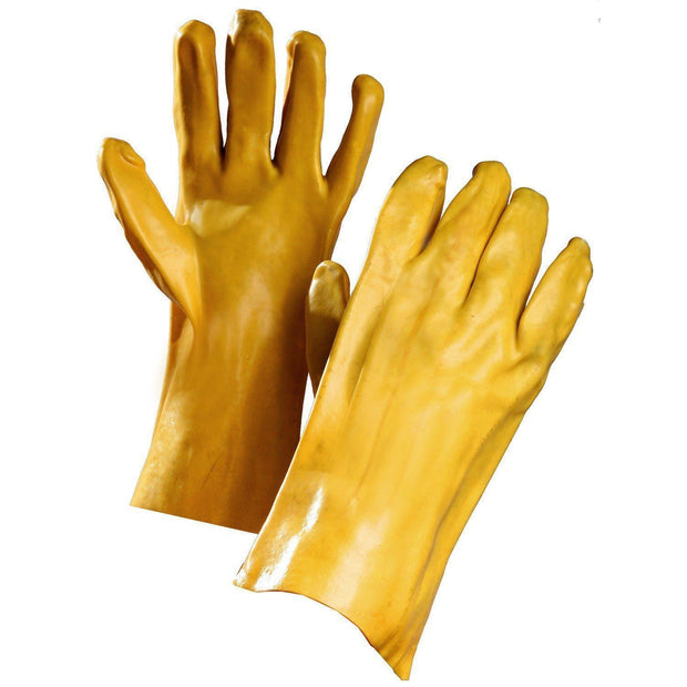 "Chemical Resistant Gloves, Yellow PVC Coated, 14"" Gauntlet Cuff - Hi Vis Safety"
