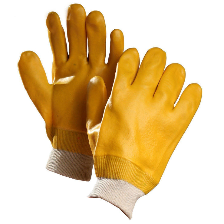 Chemical Resistant Gloves, Yellow PVC Coated, Knitwrist - Hi Vis Safety