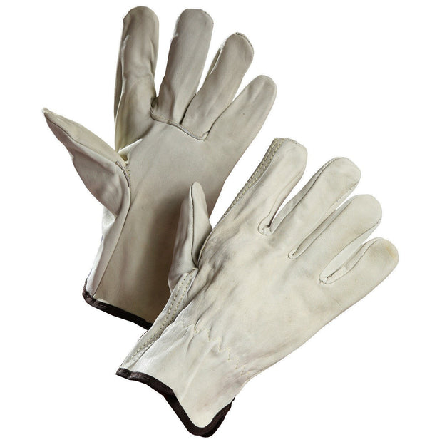 Cowhide Driver's Glove with Elastic Wrist - Hi Vis Safety
