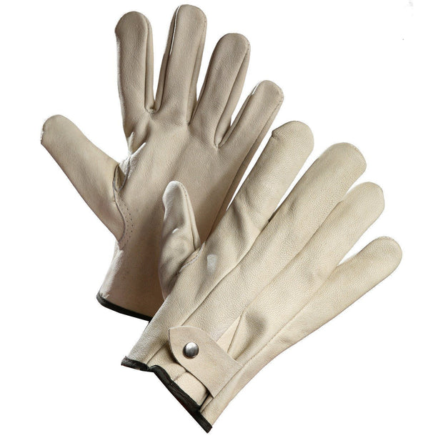 Cowhide Roper's Glove, Button snap Wrist - Hi Vis Safety
