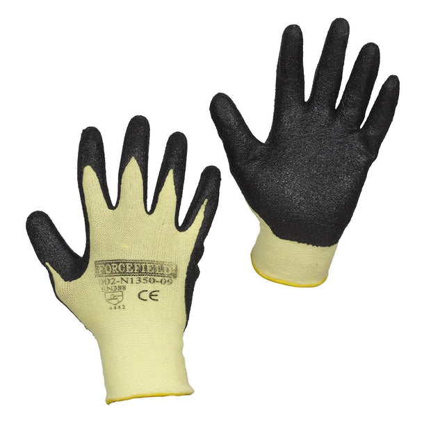 Cut Resistant Aramid Work Gloves, Nitrile Palm Coated - Hi Vis Safety