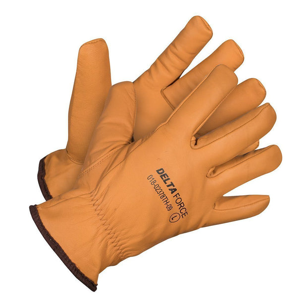 Delta Force Winter Water/Oil Resistant Goatskin Grain Leather Gloves - Hi Vis Safety