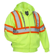 Deluxe Hi Vis Safety Hoodie, Attached Hood - Hi Vis Safety