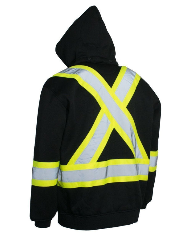 Deluxe Hi Vis Safety Hoodie, Detachable Hood - Hi Vis Safety