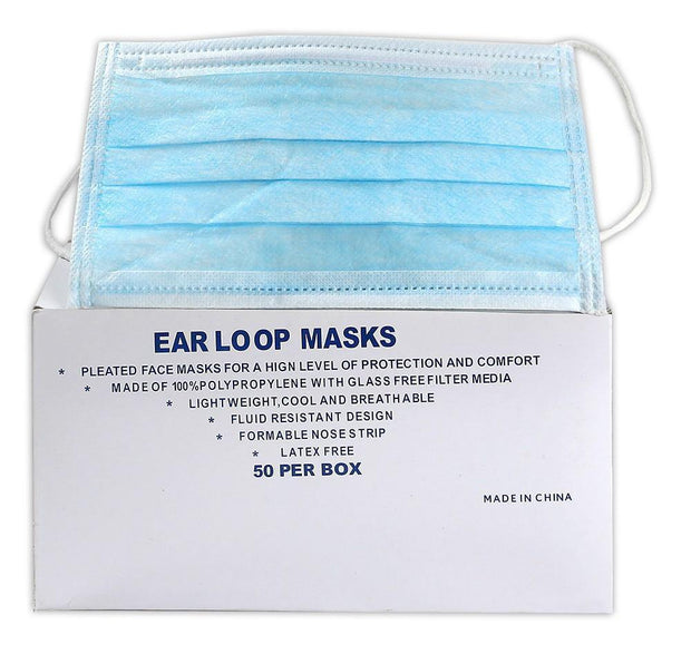 Ear Loop Face Mask, 50 per box - Hi Vis Safety