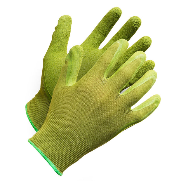 "Fieldwork Ladies Garden Gloves"" Seamless Foam Latex Palm Coated - Hi Vis Safety"