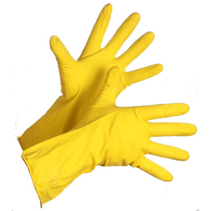 Flocklined Latex Dishwashing Style Rubber Gloves - Hi Vis Safety