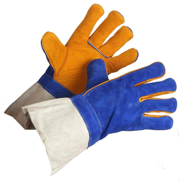 """Gold Welders"" Premium Grade Split Leather Welding Gloves - Hi Vis Safety"