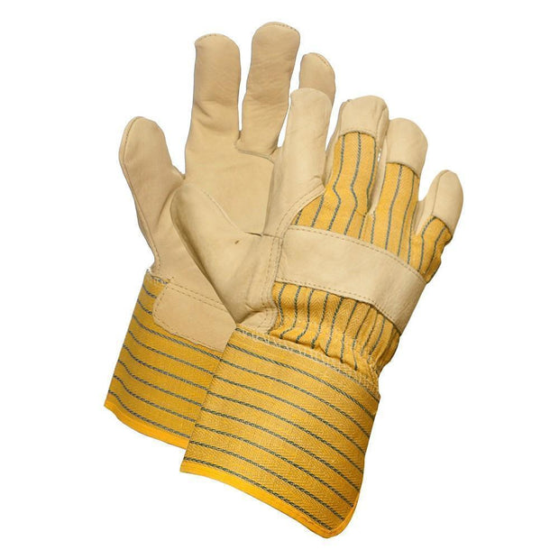 Grain Leather Work Glove, Extended Cuff - Hi Vis Safety