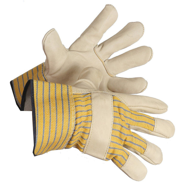 Grain Leather Work Glove, Lined Palm - Hi Vis Safety