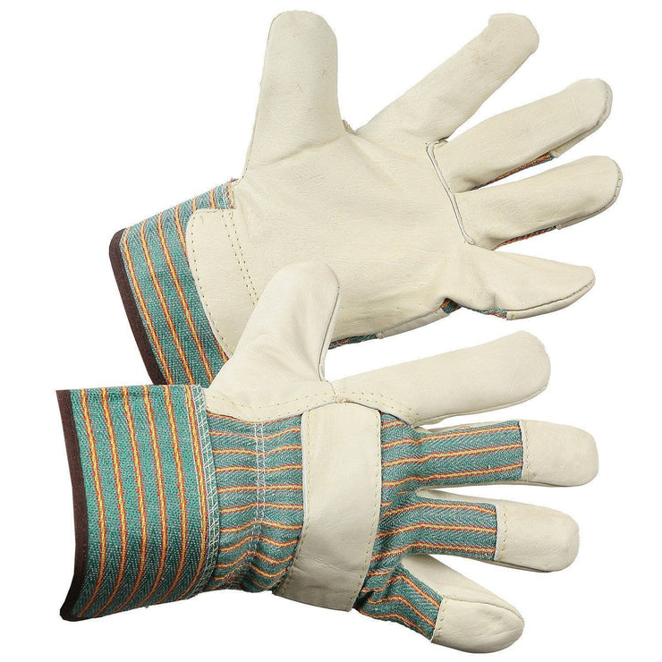 Grain Leather Work Glove, Unlined Palm - Hi Vis Safety