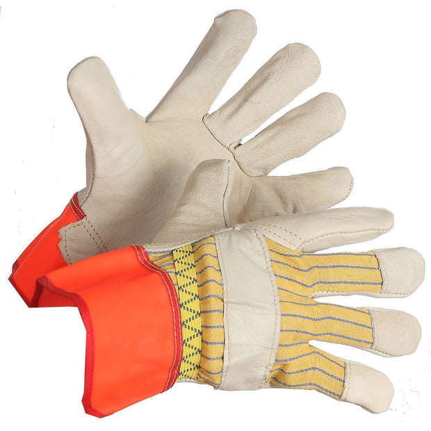 Grain Leather Work Glove with Fluorescent Cuff, Outside Elastic - Hi Vis Safety