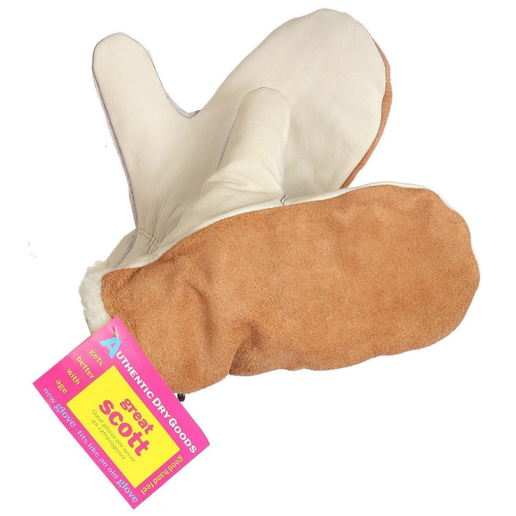 """Great Scott"" Pile Lined Leather Mitt - Hi Vis Safety"