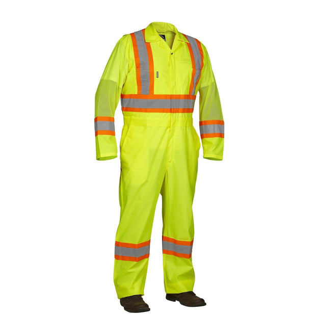 Hi Vis Safety Flagger's Coverall, Unlined - Hi Vis Safety