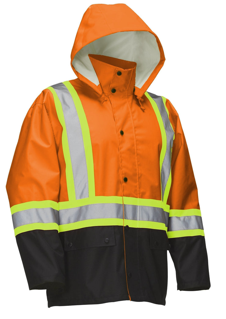 Hi Vis Safety Rain Jacket with Snap-Off Hood - Hi Vis Safety