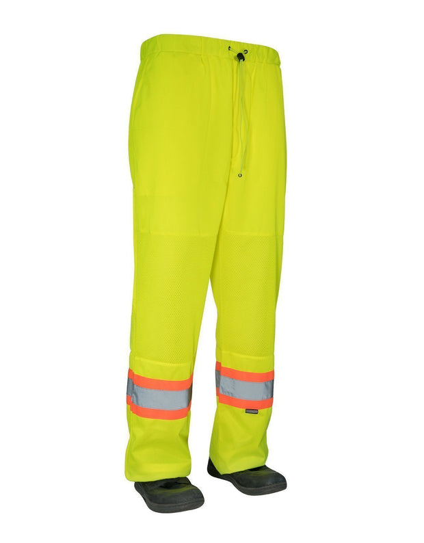 Hi Vis Safety Tricot Traffic Pants with Vented Legs and Elastic Waist - Hi Vis Safety