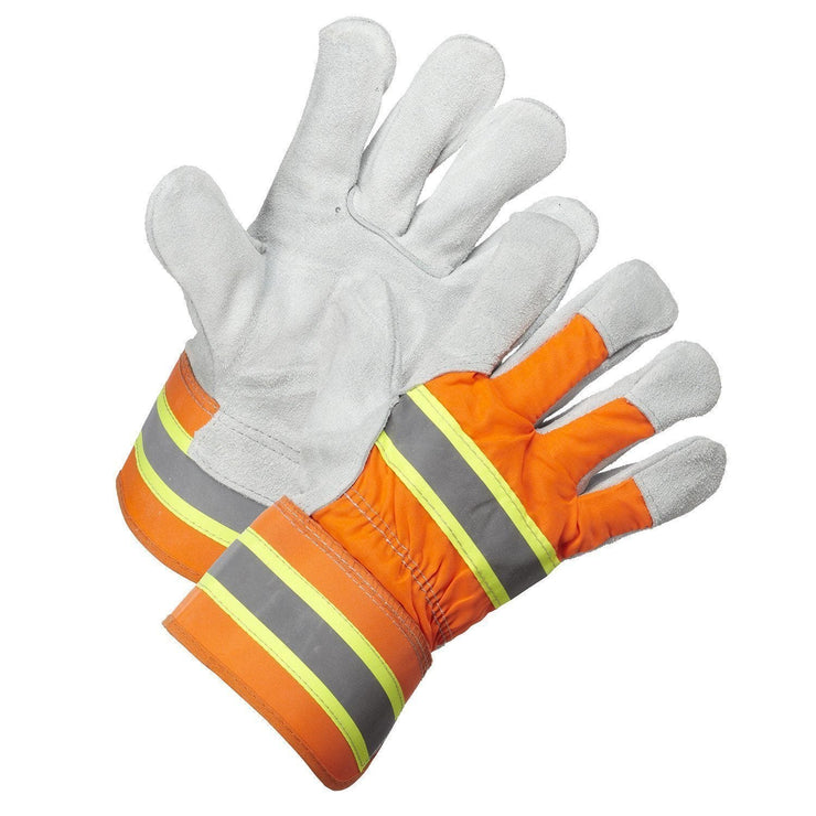 Hi-Vis Split Leather Work Glove - Hi Vis Safety