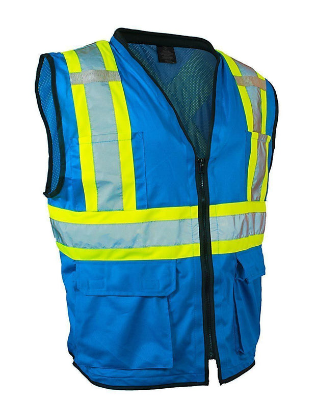 Hi Vis Traffic Safety Vest with Zipper Front, Tricot Polyester, 3 Sizes - Hi Vis Safety
