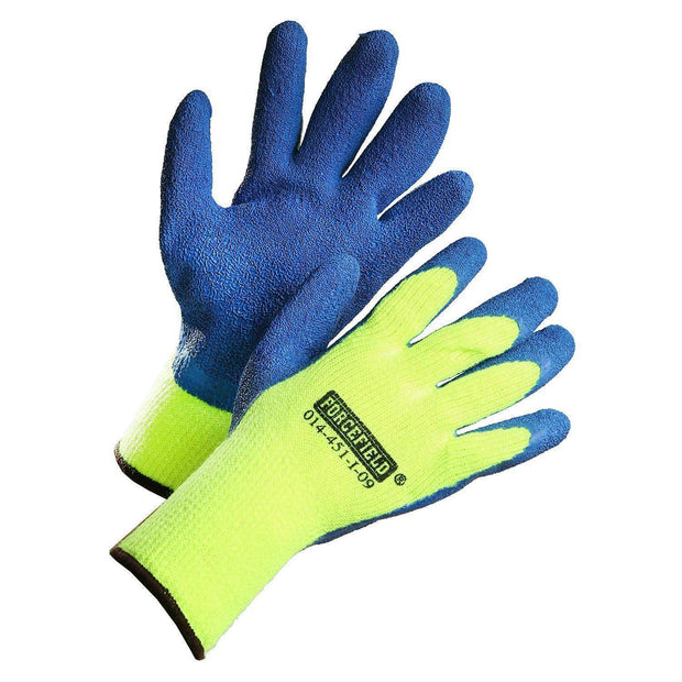 Hi-Vis Winter Insulated Work Gloves, Palm Coated with Blue Crinkle Latex - Hi Vis Safety