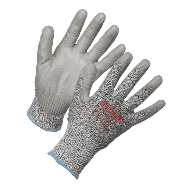 Level 5 Cut Resistant Gloves, HPPE, Polyurethane Palm Coated - Hi Vis Safety