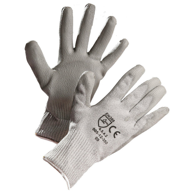 Level 5 Cut Resistant Gloves, HPPE with Stainless Steel Thread, Polyurethane Coated - Hi Vis Safety