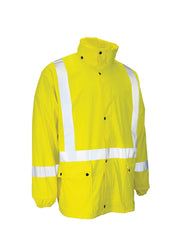 Lightweight Fire Resistant (FR) Hi Vis Safety Rain Jacket with Snap-Off Hood