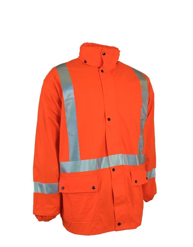 Lightweight Fire Resistant (FR) Hi Vis Safety Rain Jacket with Snap-Off Hood - Hi Vis Safety