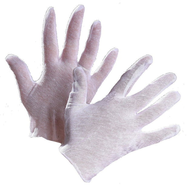Lisle White Cotton Inspector's Gloves, Slip On - Hi Vis Safety