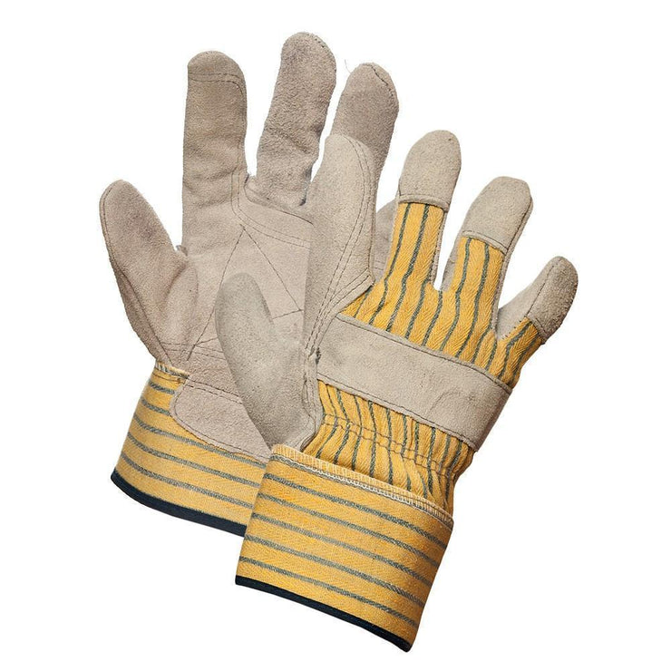 """Lumberman"" Split Leather Double Palm Work Gloves - Hi Vis Safety"