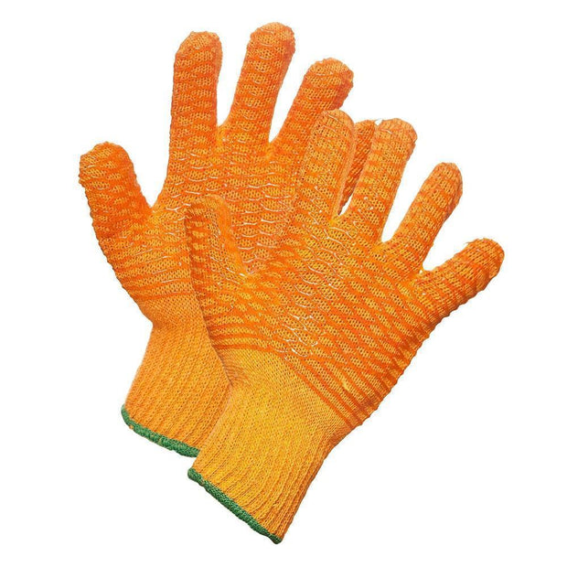 Orange String Knit Work Gloves with PVC Criss-Cross Grip - Hi Vis Safety