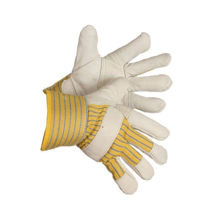"""Pile Driver"" Pile Lined Grain Leather Patch Palm Work Glove - Hi Vis Safety"