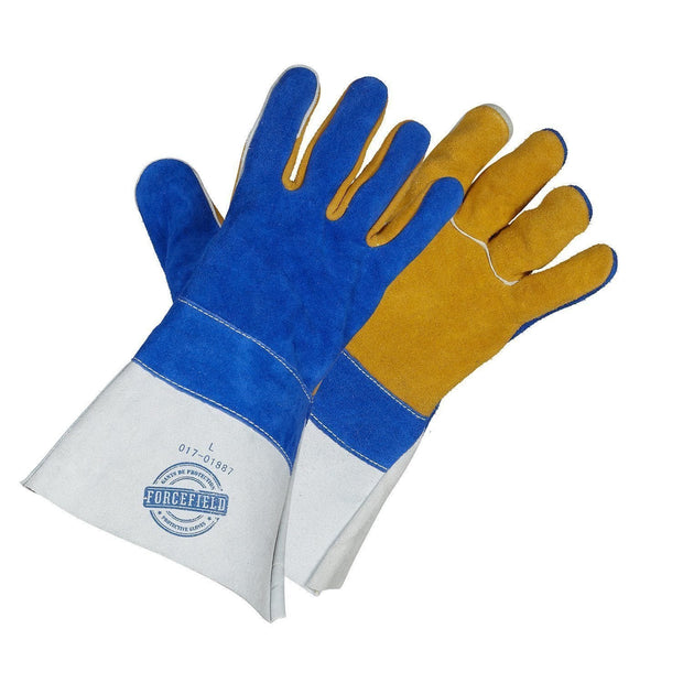 """Premium Gold Welders"" Premium Grade Split Leather Welding Gloves - Hi Vis Safety"
