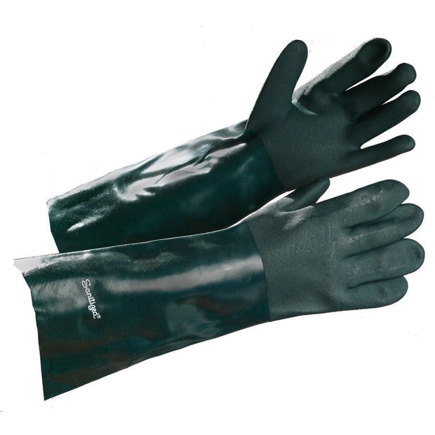 Premium PVC Coated Gauntlet, Chemical Resistant Gloves - Hi Vis Safety