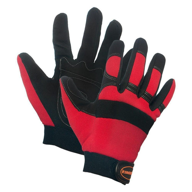 Red Spandex Padded Palm Mechanic's Gloves - Hi Vis Safety