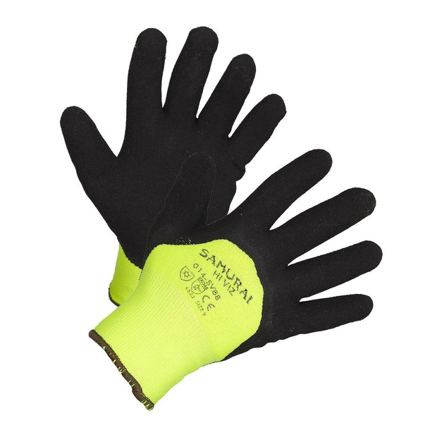 """Samurai Hi-Vis"" Insulated and 3/4 Nitrile Coated High Performance Work Gloves - Hi Vis Safety"