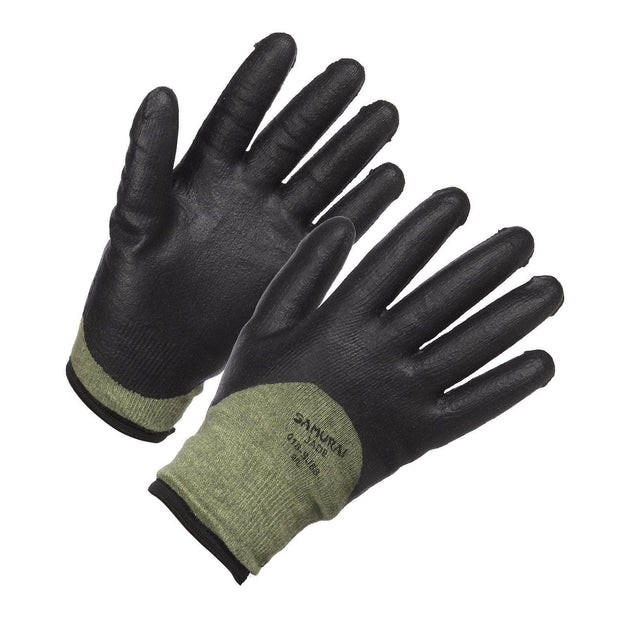"""Samurai Jade"" Level 5 Cut Resistant, Insulated and 3/4 Nitrile Coated High Performance Work Glove - Hi Vis Safety"