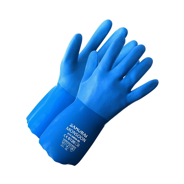 """Samurai Monsoon"" PVC Triple Dipped Glove, Jersey Liner - Hi Vis Safety"