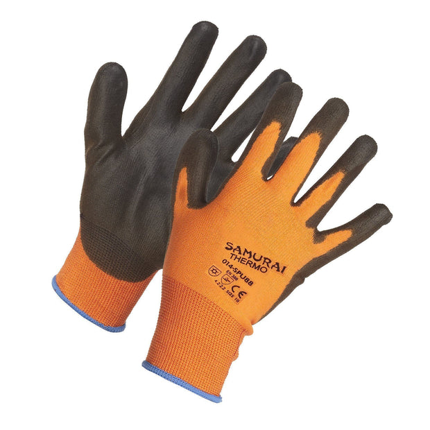 """Samurai Thermo"" Lightweight Thermal Insulated Polyurethane Palm Coated High Performance Work Gloves - Hi Vis Safety"